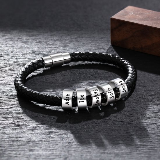 men bracelet with custom beads in 925 sterling silver