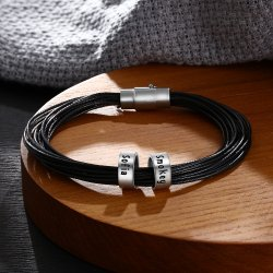 men leather bracelet with custom beads in sterling silver