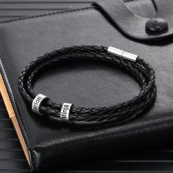 Men braided leather bracelet with custom beads