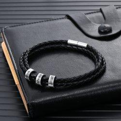 braided leather bracelet with custom beads