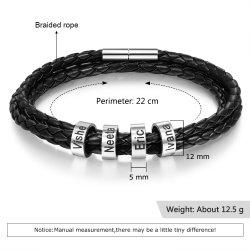 Men leather bracelet with custom beads