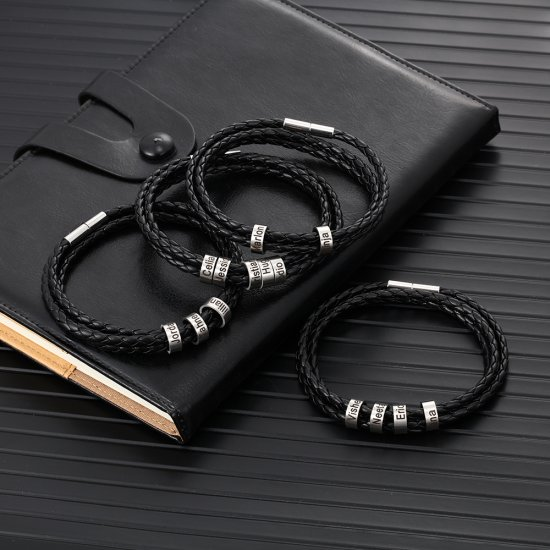 leather bracelet with custom beads