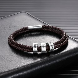 Brown Leather Bracelet with Custom Beads
