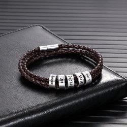 Brown Leather Bracelet with Custom Beads - in sterling silver