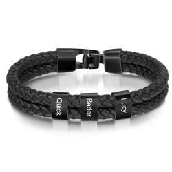 engraved black bracelet