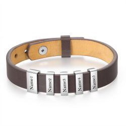 Engraved men's bracelet - brown leather