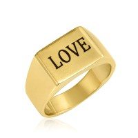 engraved rectangle ring - 18k gold plated silver