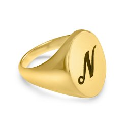engraved ellipse ring - 18k gold plated silver