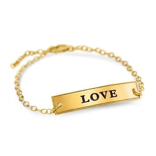 Engraved bar bracelet - 18k gold plated silver
