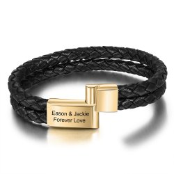 Engraved leather bracelet for man -  gold plated