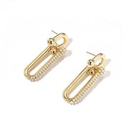 Double Link Pearl Earrings