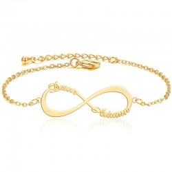 Infinity 2 Names Bracelet 18k gold Plated