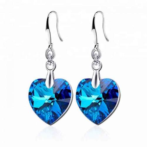 Heart-shape Ocean Blue Austrian Crystal earrings