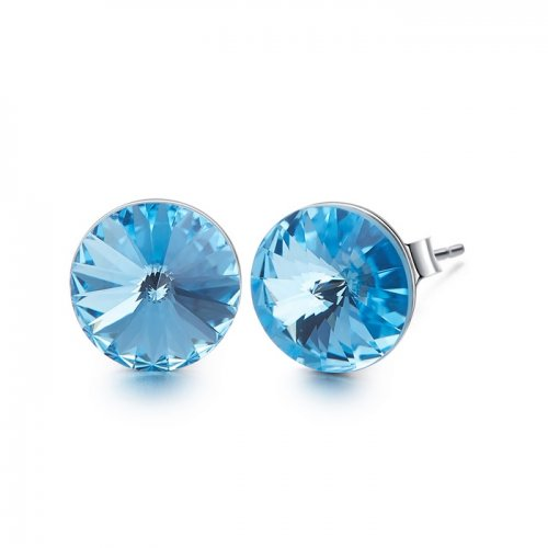 Crystals from Swarovski stud earrings - aquamarine