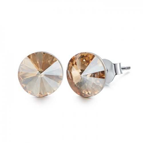 Crystals from Swarovski stud earrings - topaz