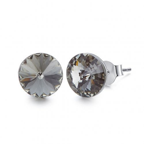 Crystals from Swarovski stud earrings - black diamond