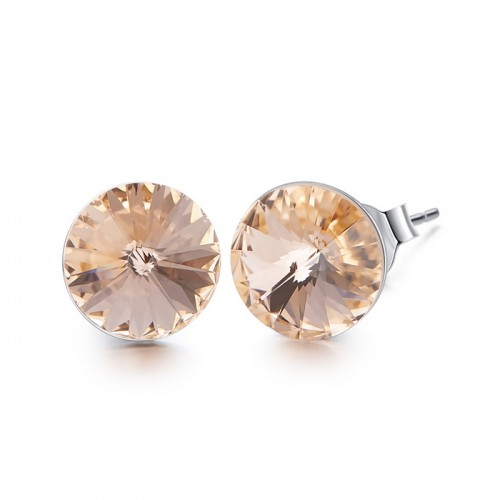 Crystals from Swarovski stud earrings - peach