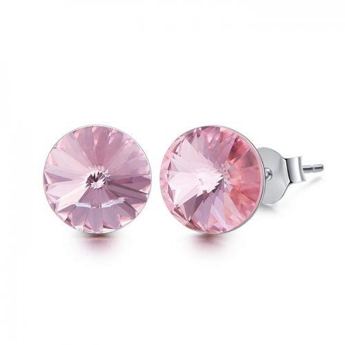 Crystals from Swarovski stud earrings - light rose