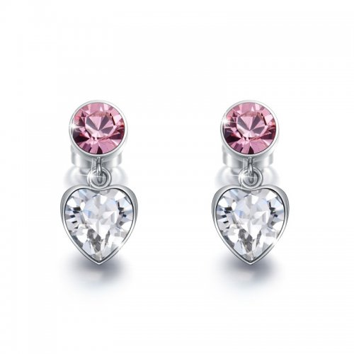heart shaped drop earrings with pink crystals from swarovski