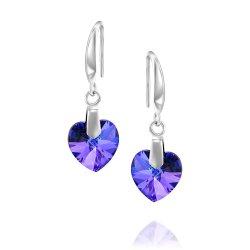 heart shaped swarovski earrings - Crystal Heliotrope