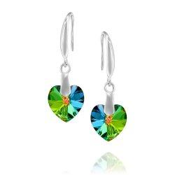 heart shaped swarovski earrings -multicolored green