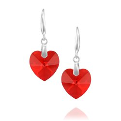 heart shaped swarovski earrings - Light Siam