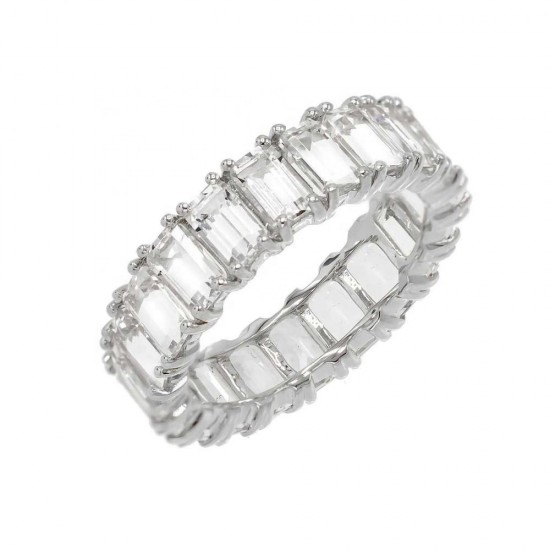 cubic zirconia eternity ring -  sterling silver