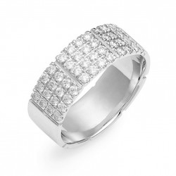 Band ring 925 sterling silver and 4 rows of zircon stones