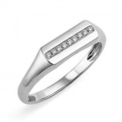 Sterling silver signet ring with a row of zircon stones
