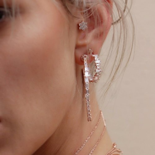 rose gold plated hoop earring with cubic zirconia