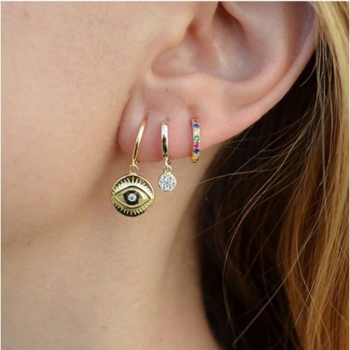 gold plated eye coin earrings