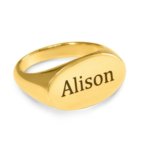 Ellipse Engraved Ring - 18k gold plated