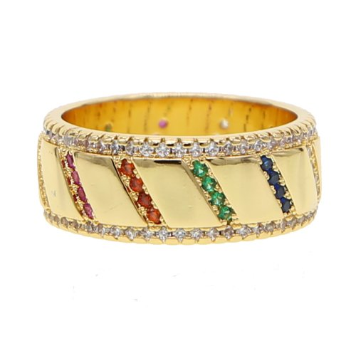 18k Gold plated colorful ring