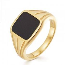 gold vintage ring - natural black agate stone