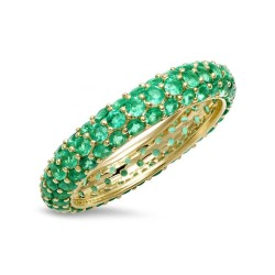 emerald zirconia ring - 18k gold plated silver