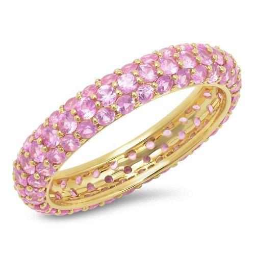 gold zirconia ring - light pink