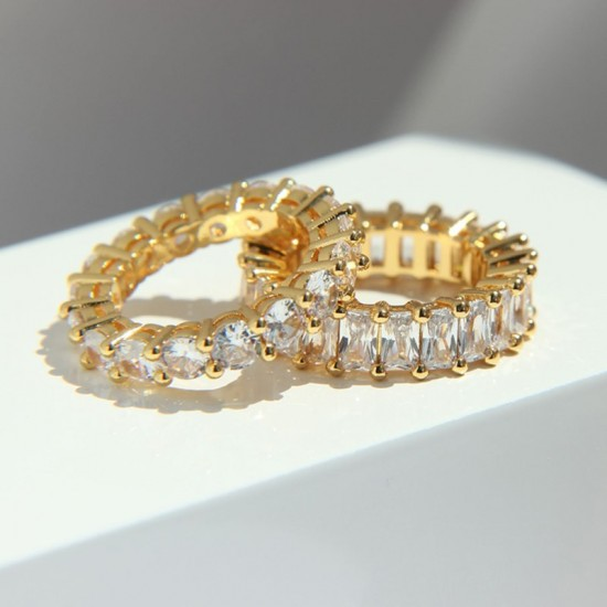Cubic Zirconia Eternity Ring - 18k gold plated