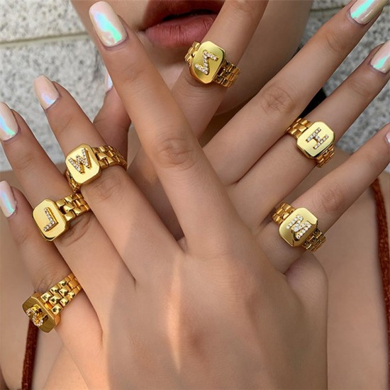 Initial letter ring 18k gold plated
