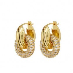 Double circle hoop earrings with zircon gemstones