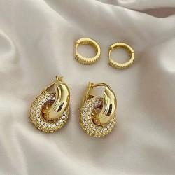 Double circle hoop earrings with zircon gemstones