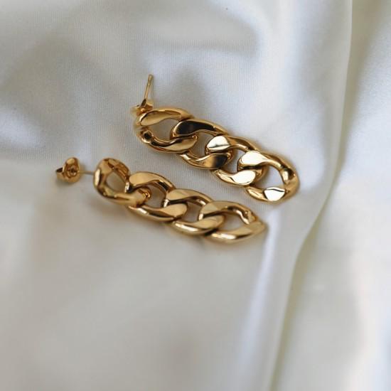 Cuban chain drop stud earrings 18k gold plated