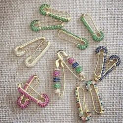 Colorful cz safety pin earrings