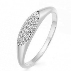 Oval ring 18k gold plated silver and cz stones