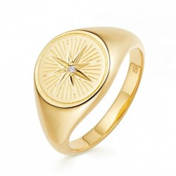 Signet ring 18k gold plated silver and zircon stone