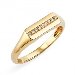 Gold signet ring with a row of zircon stones