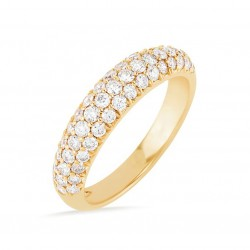 Three row micro pave eternity band 18k gold plated silver