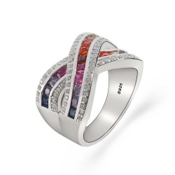 Sterling silver rainbow ring - river design