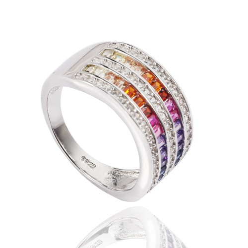 Fancy rainbow ring - round design