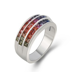 Sterling silver colorful rainbow ring