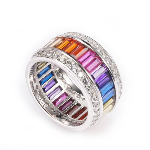 sterling silver rainbow ring - round wide model